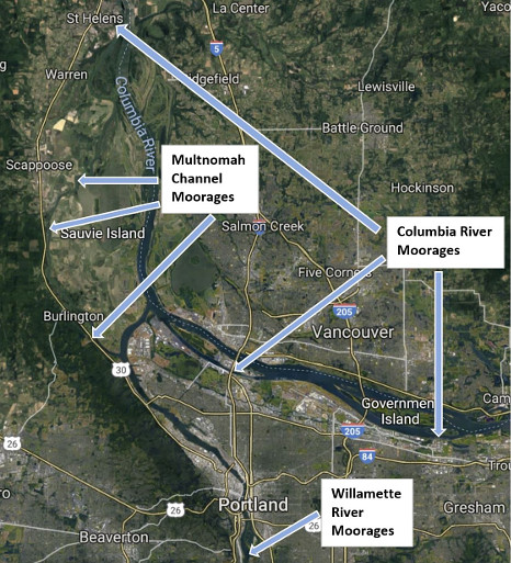 Floating Homes for Sale in Portland Oregon Waterway Map